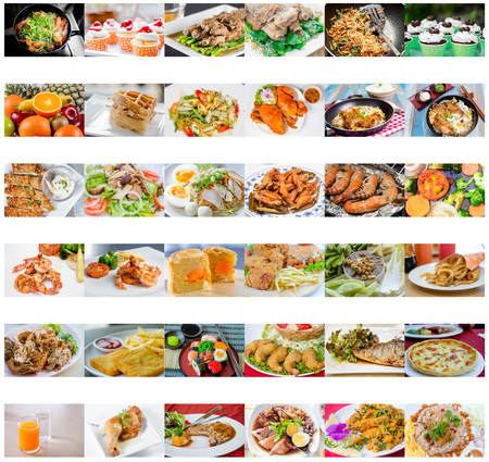chinese american: collage picture of food menu asian, american and chinese food