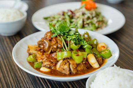Chinese food set on dining table Reklamní fotografie