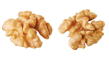 shelled: Half a walnuts shelled on a white background