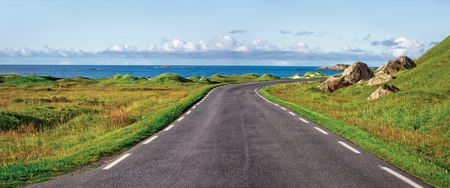 trave: The winding road along the shore of the ocean Stock Photo