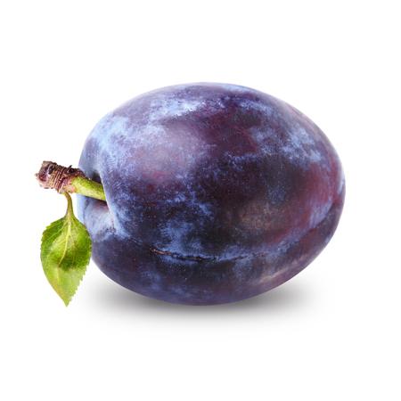 One plum isolated on white background