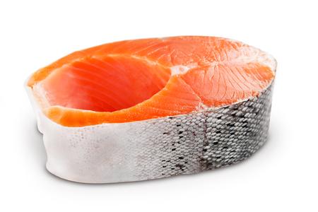Steak fresh salmon isolated on white background