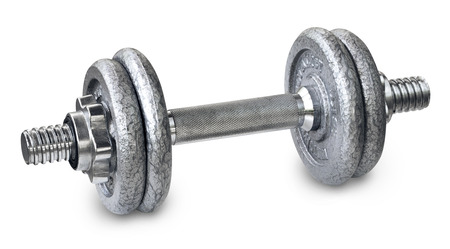 Heavy metal dumbbells on a white background Stock Photo