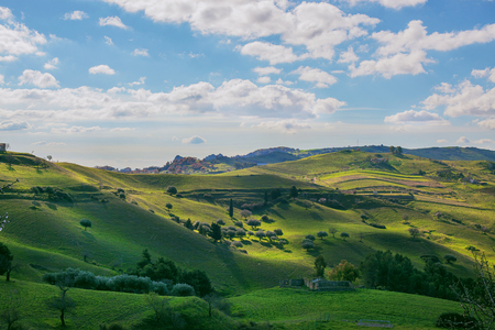 Panorama of the hills sun-drenched in sicily Stock Photo