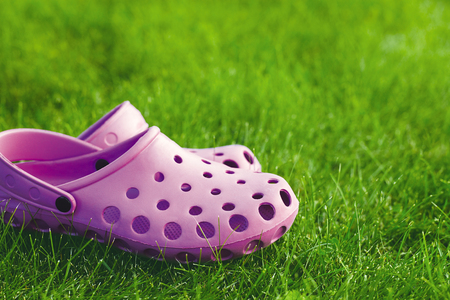 pink flip-flops on the lawn