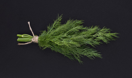A bunch of fresh dill tied with a rope on a black background Stock Photo