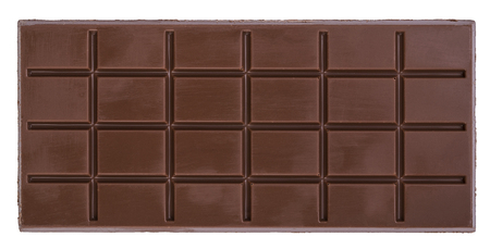 Tile of black milk chocolate isolated on white background