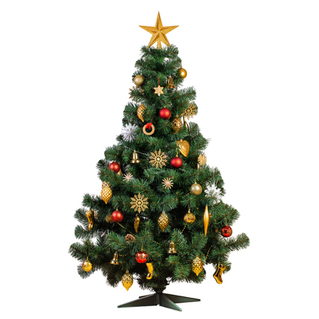 Artificial Christmas tree with beautiful classic vintage decorations with garlands, lights and sparkles isolated on white background, studio shot