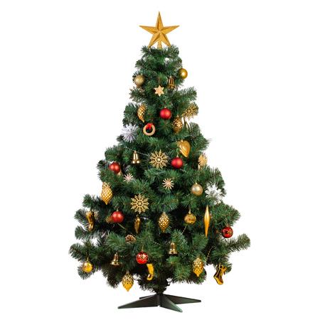Künstlicher Weihnachtsbaum mit schönen klassischen Vintage-Dekorationen mit Girlanden, Lichtern und Funkeln einzeln auf weißem Hintergrund, Studioaufnahme