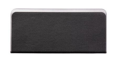 Rectangular metallic power bank with black eco leather design isolated on white background 스톡 콘텐츠