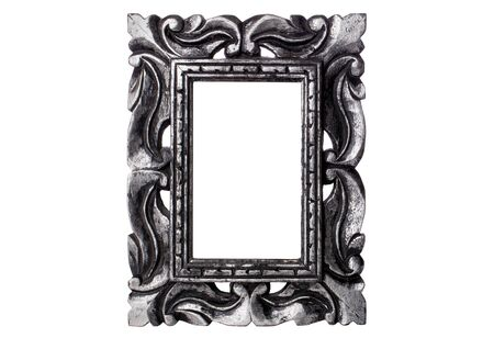 Antique silver wooden picture frame isolated on white background Zdjęcie Seryjne