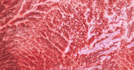 Fresh marbled beef steak Isolated on a white background, macro shot, top view
