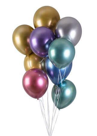 A bunch of multi-colored metallized balloons for party isolated on black background Standard-Bild