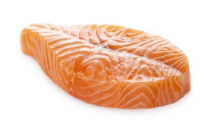 Fresh Raw Salmon Butterfly Steak Isolated on a White Background