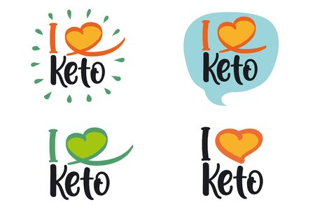 """I love Keto� vector logo isolated on white background."