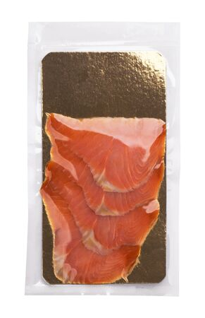 Salmon slices in transparent vacuum packaging isolated on white background