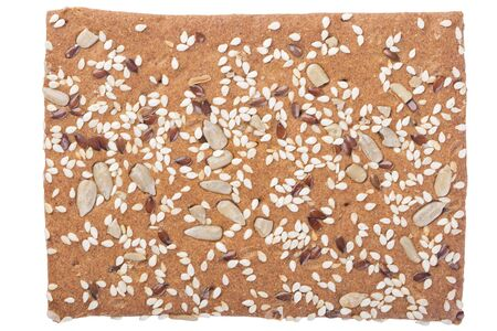 One brown sesame cracker isolated on white background, top view Stockfoto