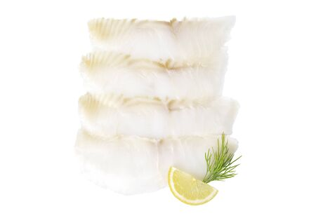 White smoked fish slices isolated on a white background Stockfoto