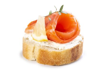 Mini salmon sandwiches isolated on a white background