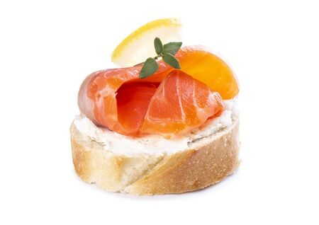 Mini salmon sandwiches isolated on a white background