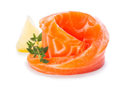 Rolled piece of fresh raw salmon isolated on white background