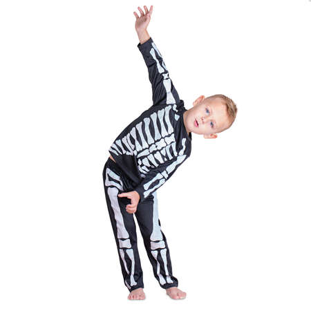 Young boy in a black skeleton costume isolated on white background