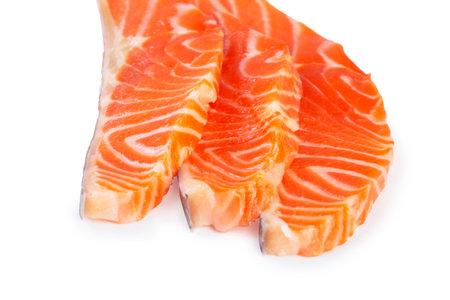Fresh salmon sashimi slices isolated on white background