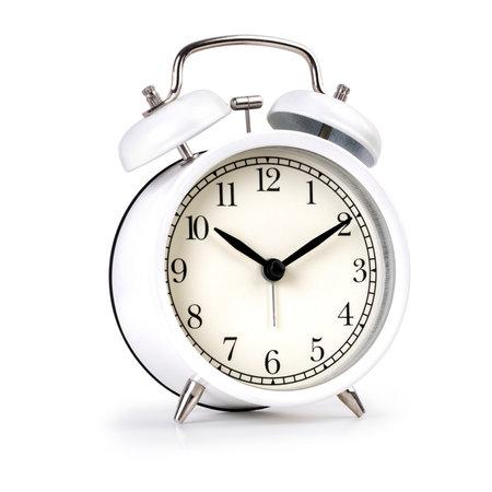 Classic white alarm clock isolated on white background Imagens