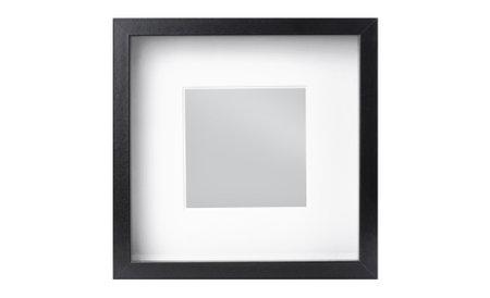 Black modern square photo frame isolated on white background