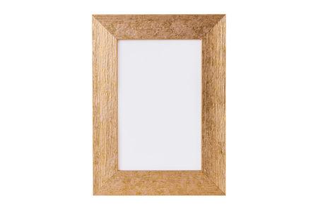 Golden photo frame isolated on white background
