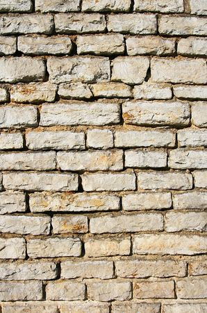 Closeup of flat wall from stacked stones. photo