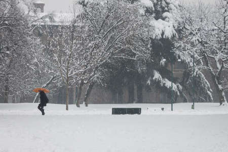 a girl walking in the snow with an orange umbrella