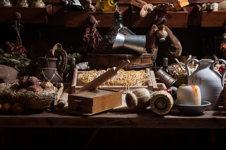 Collection of a variety of items and foods belonging to the italian culinary tradition