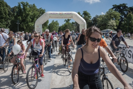 MILAN, ITALY - MAY 12: Thousands of people pedal together for a more sustainable mobility at the Cyclopride meeting in Milan on May 12, 2013