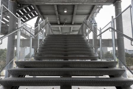 building external: External steel staircase of a modern building