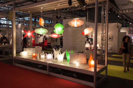 MILAN, ITALY - SEPTEMBER, 12  Colorful design lamps at Macef home international show, point of reference for all those in the sector of interior design and architecture in Milan on September 12, 2013