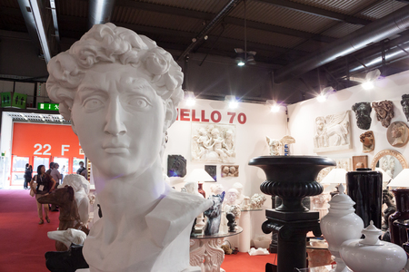 MILAN, ITALY - SEPTEMBER, 12  Neoclassic sculptures at Macef home international show, point of reference for all those in the sector of interior design and architecture in Milan on September 12, 2013