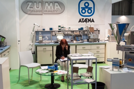 zuma: MILAN, ITALY - SEPTEMBER 26  People visit Chem-Med exhibition, complete showcase of equipment and instrumentation for chemical laboratory as well as process technologies for chemical industry in Milan on September 26, 2013