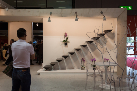 elegant staircase: MILAN, ITALY - OCTOBER 3  Elegant staircase at Made expo, international architecture and building trade show on October 3, 2013 in Milan  Editorial