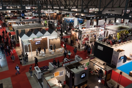 MILAN, ITALY - OCTOBER 3  Top view of people and booths at Made expo, international architecture and building trade show on October 3, 2013 in Milan  Редакционное