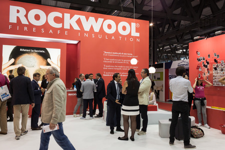 rockwool: MILAN, ITALY - OCTOBER 3  People visit Made expo, international architecture and building trade show on October 3, 2013 in Milan