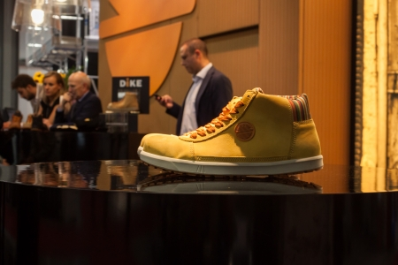 safety shoes: MILAN, ITALY - OCTOBER 3  Stylish safety shoes at Made expo, international architecture and building trade show on October 3, 2013 in Milan