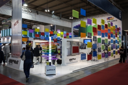 MILAN, ITALY - OCTOBER 3  People visit Made expo, international architecture and building trade show on October 3, 2013 in Milan