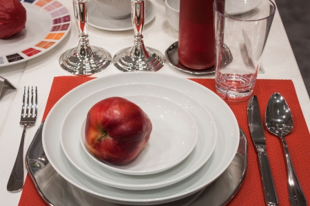 hospitality industry: MILAN, ITALY - OCTOBER 18  Tableware with red apple Host 2013, international exhibition of the hospitality industry on OCTOBER 18, 2013 in Milan  Editorial