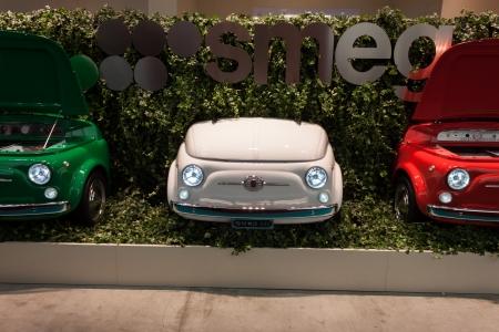 MILAN, ITALY - OCTOBER 18  Fiat 500 refrigerators at Host 2013, international exhibition of the hospitality industry on OCTOBER 18, 2013 in Milan