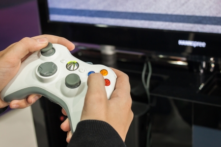 MILAN, ITALY - OCTOBER 26  Detail of Xbox controller at Games Week 2013, event dedicated to video games and electronic enterteinment on OCTOBER 26, 2013 in Milan