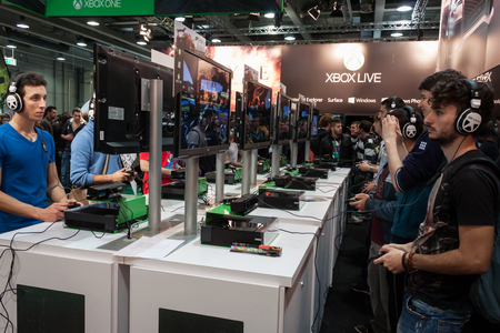 MILAN, ITALY - OCTOBER 26  People play at Games Week 2013, event dedicated to video games and electronic enterteinment on OCTOBER 26, 2013 in Milan