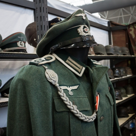 MILAN, ITALY - NOVEMBER 2  Nazi uniform on display at Militalia, exhibition dedicated to militaria collectors and military associations on NOVEMBER 2, 2013 in Milan