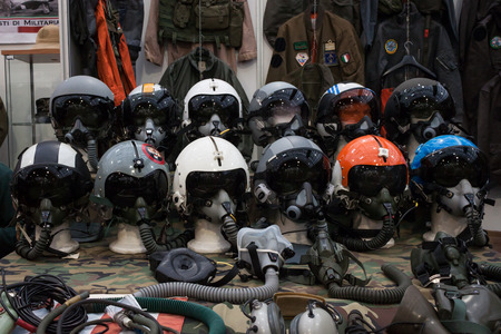 historica: MILAN, ITALY - NOVEMBER 2  Air force helmets on display at Militalia, exhibition dedicated to militaria collectors and military associations on NOVEMBER 2, 2013 in Milan  Editorial