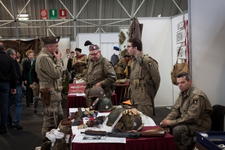 MILAN, ITALY - NOVEMBER 2  American soldiers at Militalia, exhibition dedicated to militaria collectors and military associations on NOVEMBER 2, 2013 in Milan